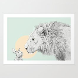 Lion and Bunny Art Print