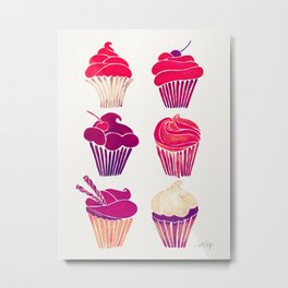 Cupcakes – Fuchsia Palette Metal Print