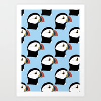 puffin Art Prints featuring Puffin by stephpiddillustration