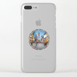 Times Square Sparkle (badge on white) Clear iPhone Case