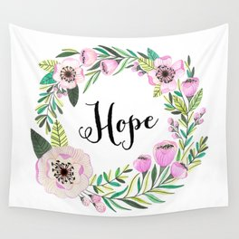 Hope Lettering Watercolor Ilustration Wall Tapestry