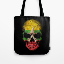 Dark Skull with Flag of Myanmar Tote Bag