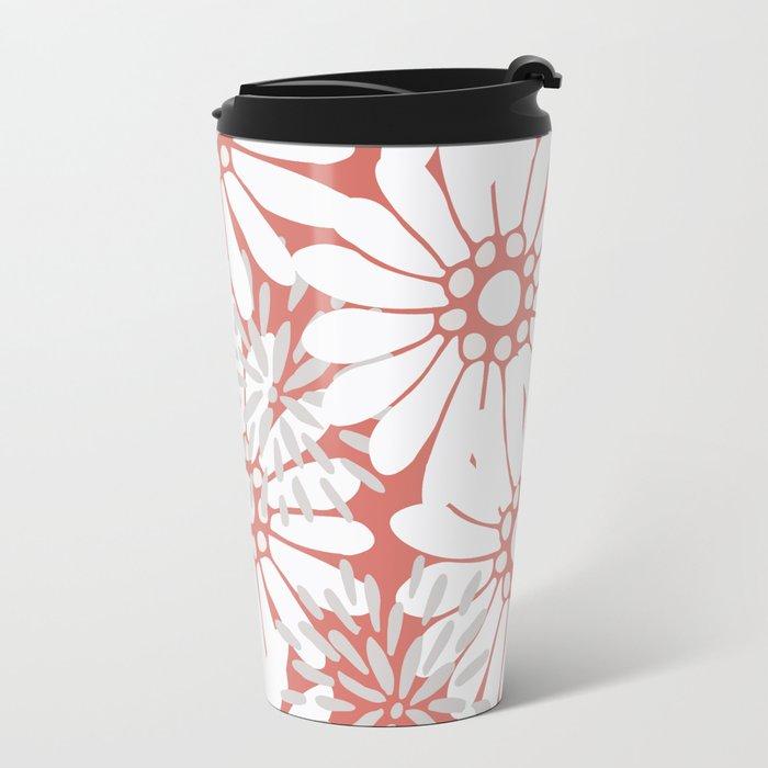 Summer Flowers Red Metal Travel Mug