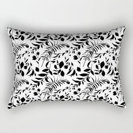 Black tropical floral leaves hand painted illustration Rectangular Pillow