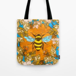 Bumblebee In Wild Rose Wreath Tote Bag
