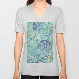 Modern teal green yellow watercolor tropical leaves Unisex V-Neck