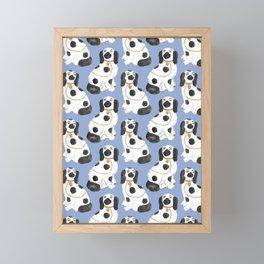 Staffordshire Dog Figurines No. 2 in Dusty French Blue Framed Mini Art Print