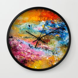 LAVENDER MEADOWS AT SUNSET Wall Clock