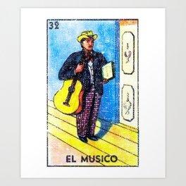 El Musico Mexican Loteria Bingo Card Art Print