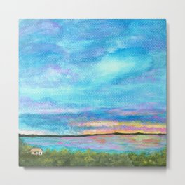 Good Morning, Beach House Sunrise Metal Print