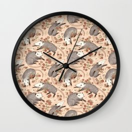 Opossum and Roses Wall Clock