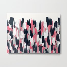 Pink, Blue, and Gray Brushstrokes Metal Print