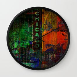 A night in Chicago Wall Clock