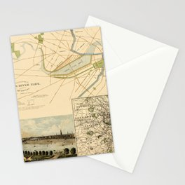 Map of Boston 1880 Stationery Cards