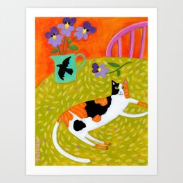 Calico Cat on table reproduction of original painting by Tascha Parkinson Art Print