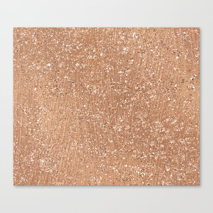 Rose gold brushstrokes and glitter Canvas Print