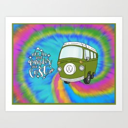 Camper Bus Not All Who Wander Are Lost Art Print