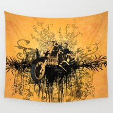 Steam motorcycle Wall Tapestry