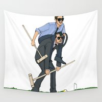 niall Wall Tapestries featuring Liam and Niall Play Croquet by Ashley R. Guillory