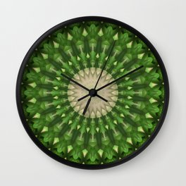 Mandala in vivid green color Wall Clock
