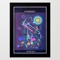 kandinsky Art Prints featuring kandinsky+wright by federico babina