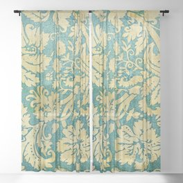 Vintage Antique Green and Gold Pattern Wallpaper Sheer Curtain