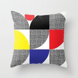 Textured Mid-century Circles No.1 Throw Pillow