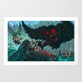 MOTHMAN DIVE BOMBING SASQUATCH Art Print