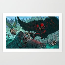 MOTHMAN DIVE BOMBING SASQUATCH Art Print