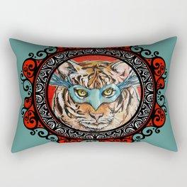 Masquerade Bengal Tiger Mandala Rectangular Pillow