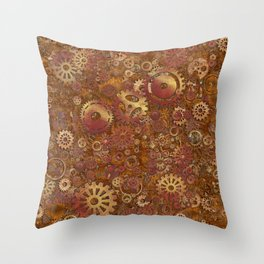 Steampunk Gears Throw Pillow