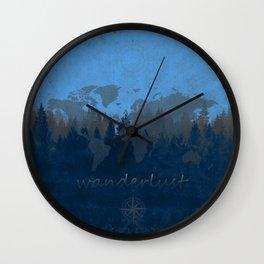 world map wanderlust forest blue Wall Clock