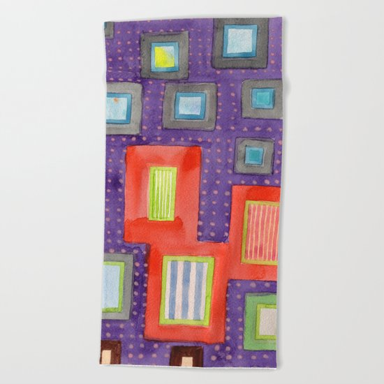 Various Frames on dotted Wall Beach Towel