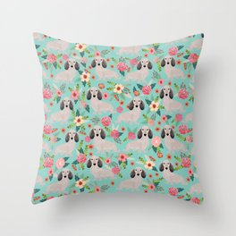 Dachshund florals - shaded cream doxie design cute floral dogs dachshunds cute dog best doxies Throw Pillow