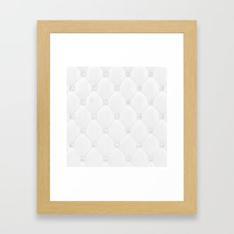 Ivory White Diamond Tufting Pattern Framed Art Print