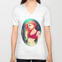 ariel V-neck T-shirts featuring Ariel by Nausicaa