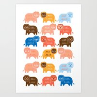 lions Art Prints featuring Lions  by Claire Brown Surface Pattern