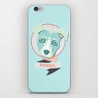 pitbull iPhone & iPod Skins featuring Pastel Pitbull by Minette Wasserman