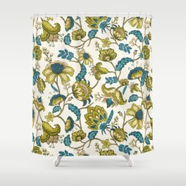 Green and Blue Indian Floral Shower Curtain