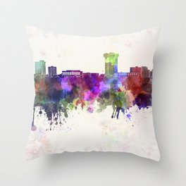 Springfield MO skyline in watercolor background Throw Pillow