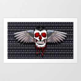 Skull with chromed wings on leather illustration Art Print