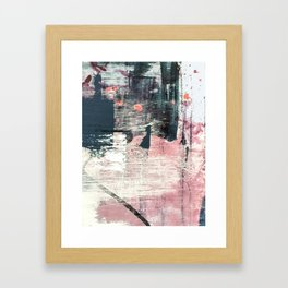 Sweet tooth [7]: a colorful abstract mixed media piece in pink, blues, and white Framed Art Print