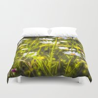 oil Duvet Covers featuring Chamomile Oil by David Pyatt