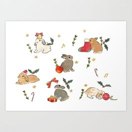 Bunnies and gifts Art Print