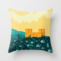 golden Throw Pillows featuring Golden castle by Roland Banrevi