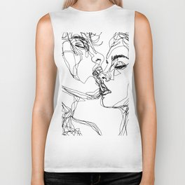 kiss more often (B & W) Biker Tank
