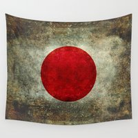 propaganda Wall Tapestries featuring The national flag of Japan by Bruce Stanfield