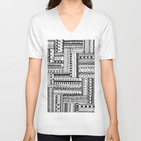 tribal V-neck T-shirts featuring Tribal  by Ale Ibanez