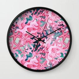 Pink Starfish and coral watercolor reef Wall Clock