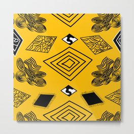 Yellow and Black Diamonds Metal Print